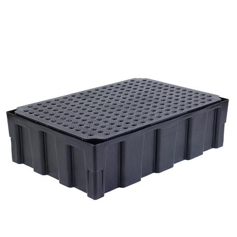 Záchytná vaňa pre 2 sudy - polyetylénový rošt
