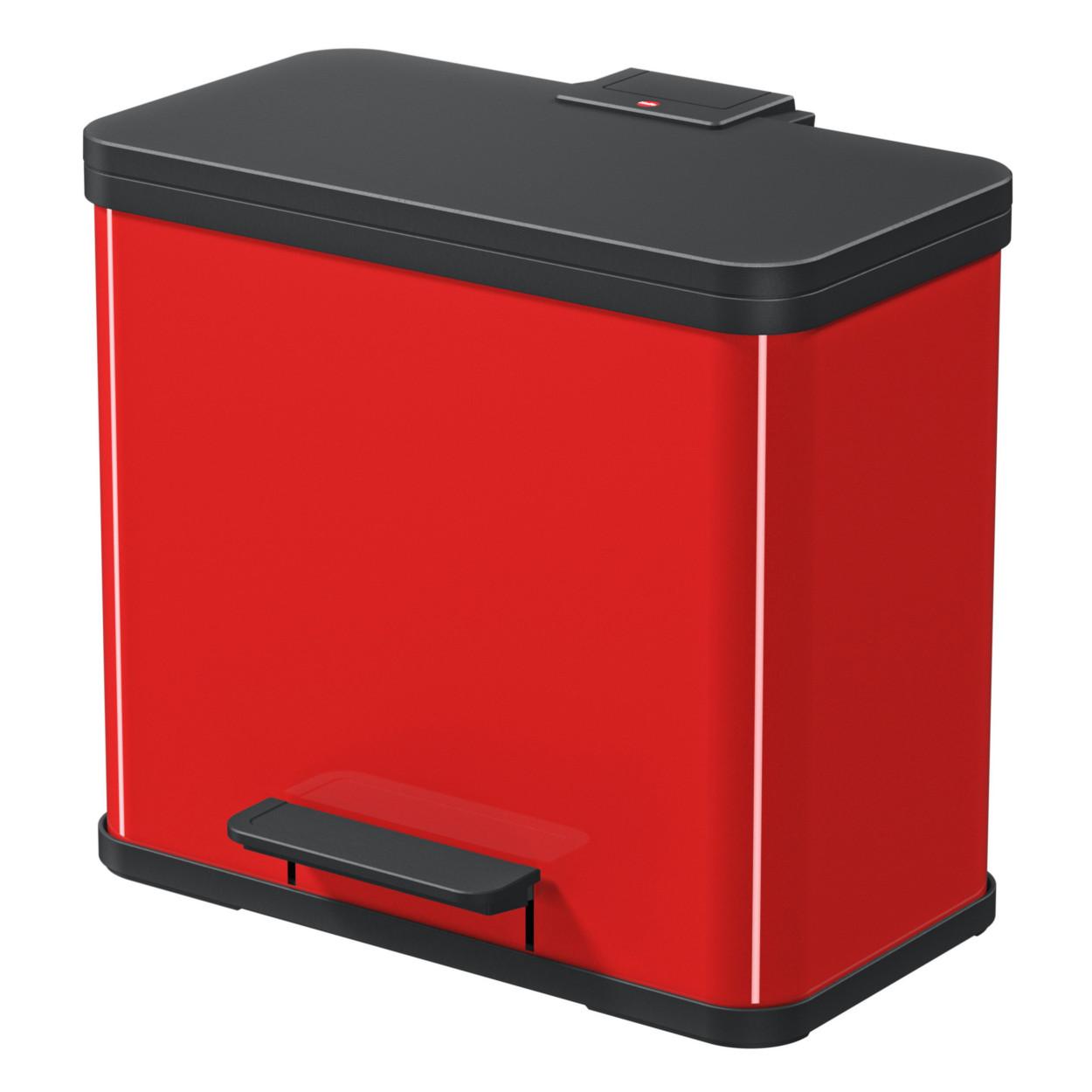 Kovový kôš s tlmeným zatváraním TRIO, 3x9 l, červený