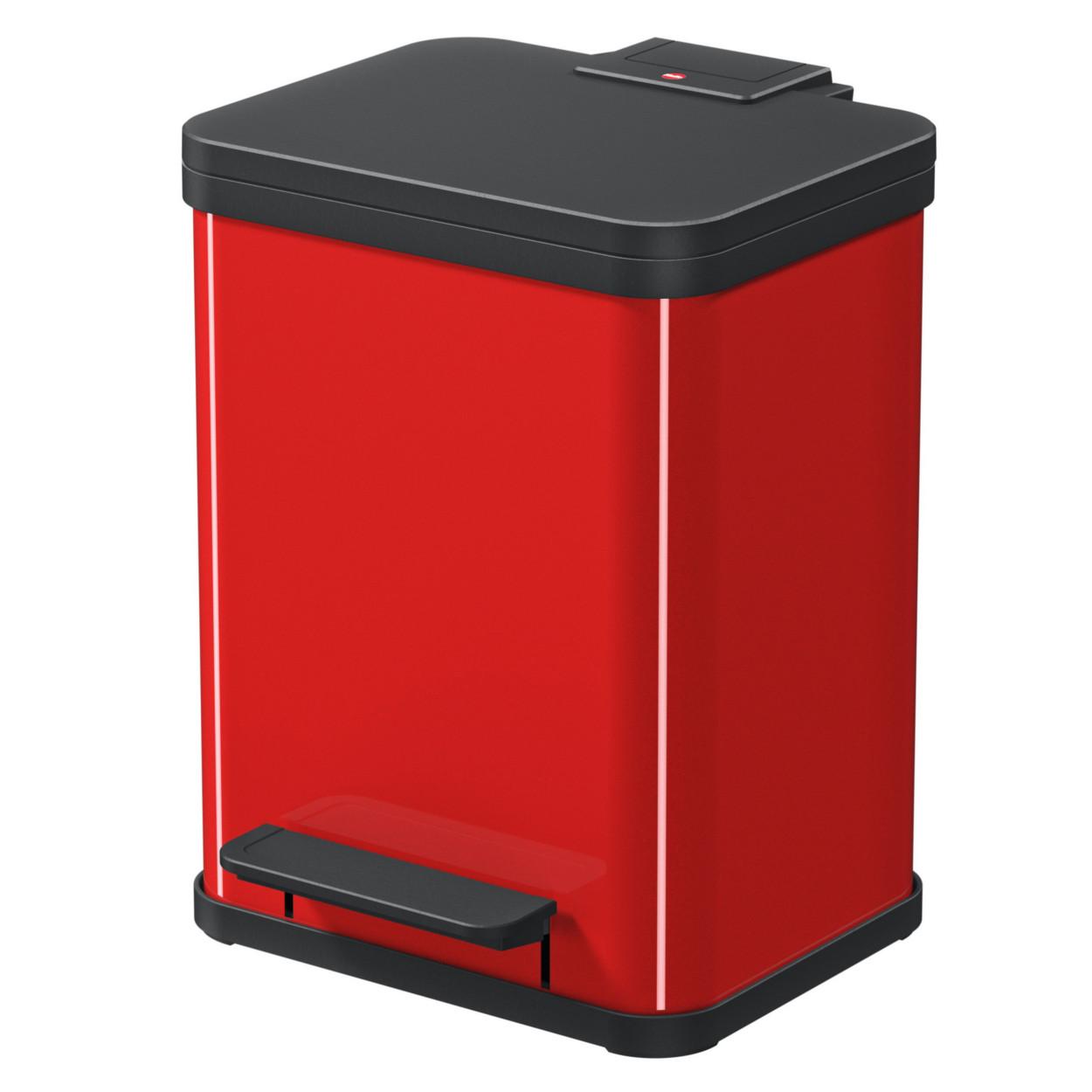 Kovový kôš s tlmeným zatváraním DUO, 2x9 l, červený