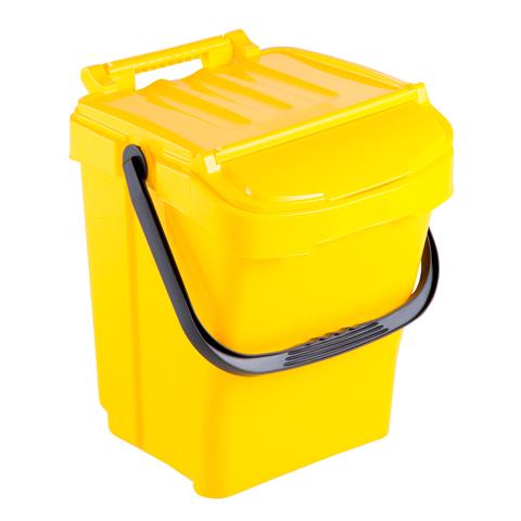 Odpadkový kôš s držadlom a vekom, žltý