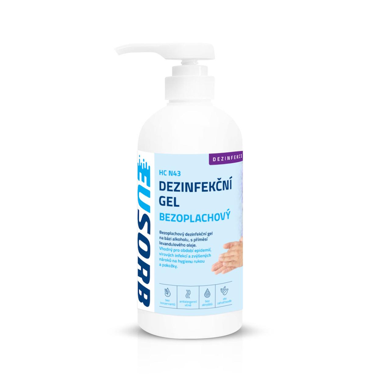 Bezoplachový hygienický gél na ruky s pumpičkou, levanduľa, 500 ml