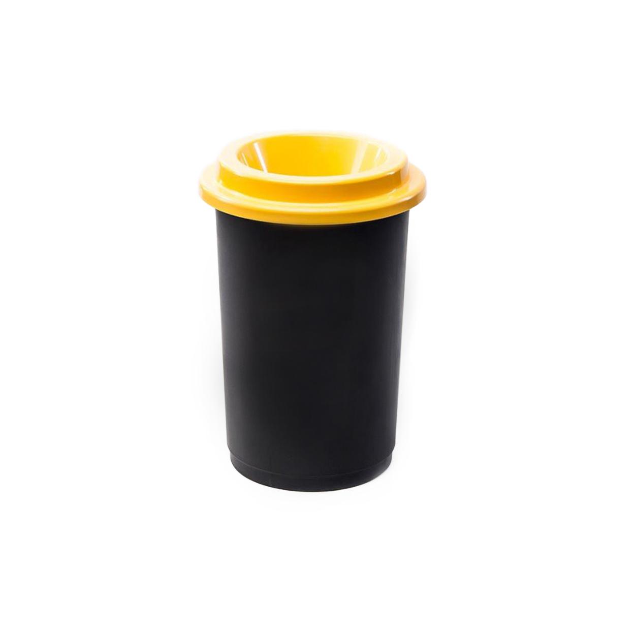 Guľatý plastový kôš na triedený odpad, 50 l, žltá