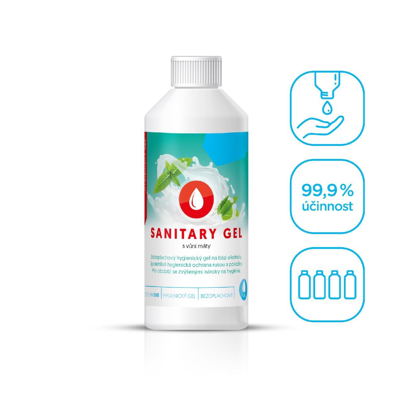 Bezoplachový hygienický gél na ruky, mäta, 250 ml
