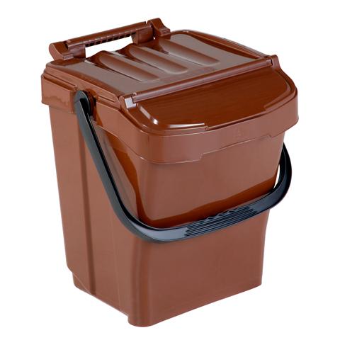 Odpadkový kôš s držadlom a vekom, hnedý