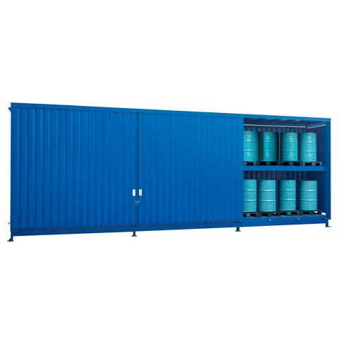 Vonkajší sklad s roštami pre skladovanie sudov