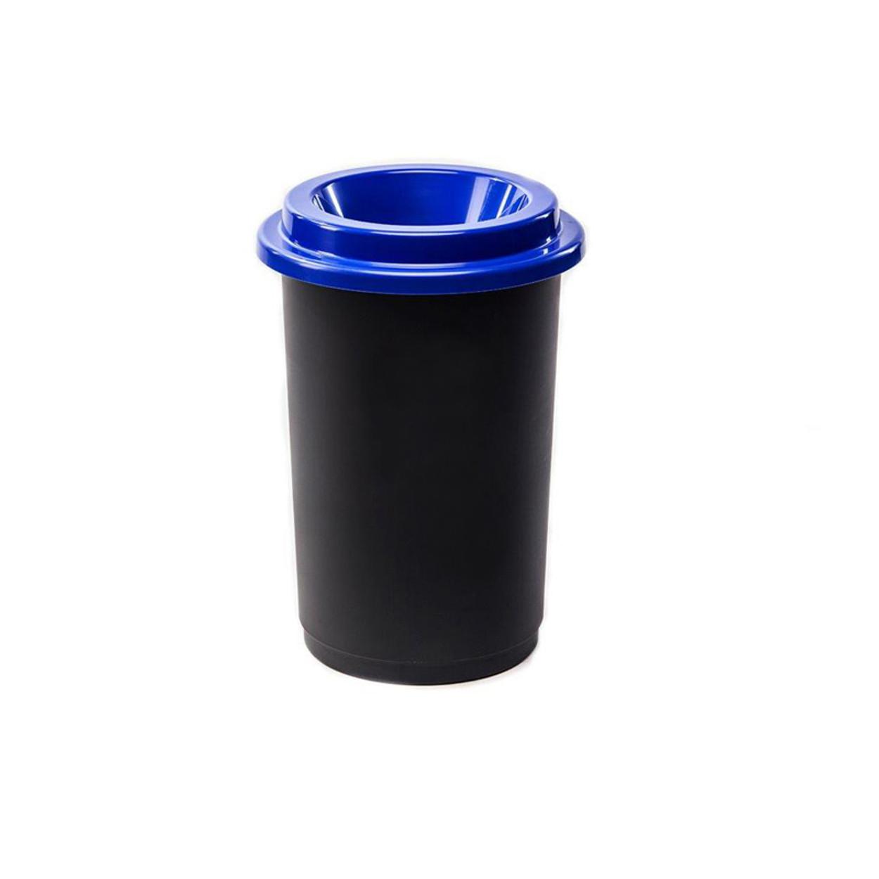Guľatý plastový kôš na triedený odpad, 50 l, modrá