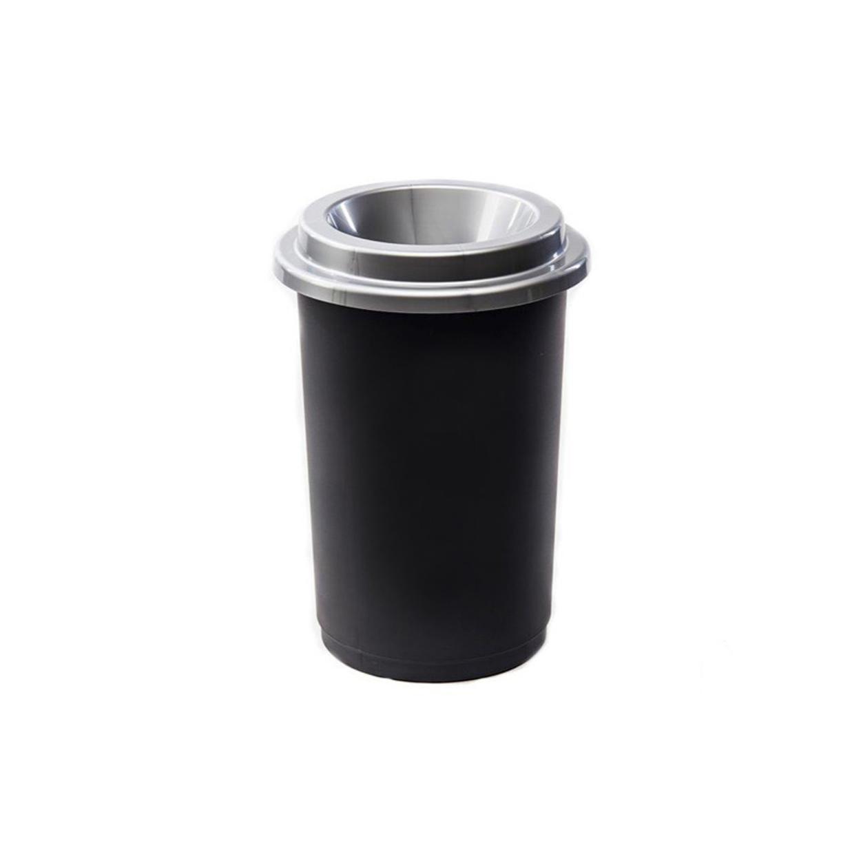 Guľatý plastový kôš na triedený odpad, 50 l, šedá