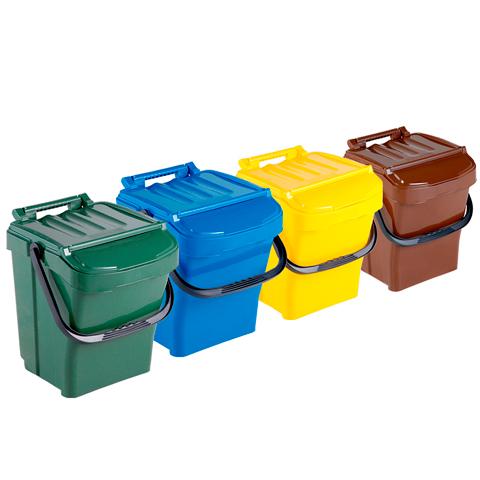 Sada štyroch odpadkových košov s držadlom a vekom