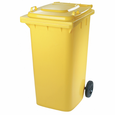 Plastová nádoba s kolieskami žltá