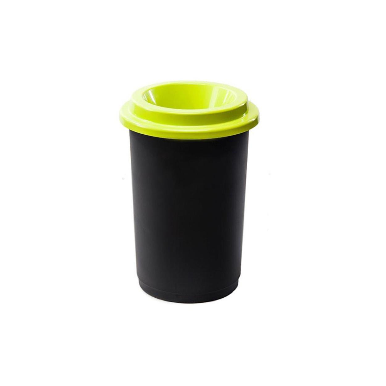 Guľatý plastový kôš na triedený odpad, 50 l, zelená