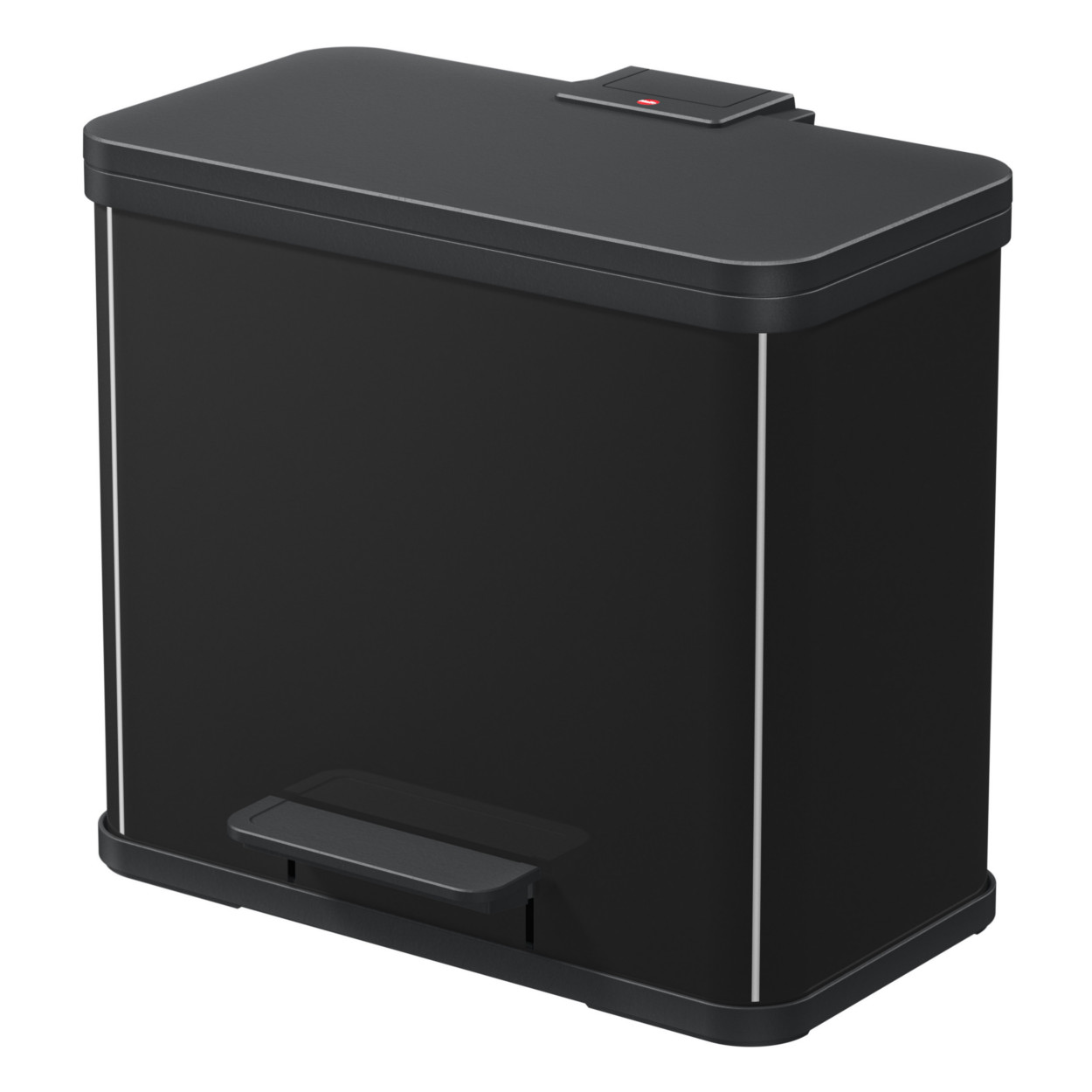 Kovový kôš s tlmeným zatváraním TRIO, 3x9 l, čierny