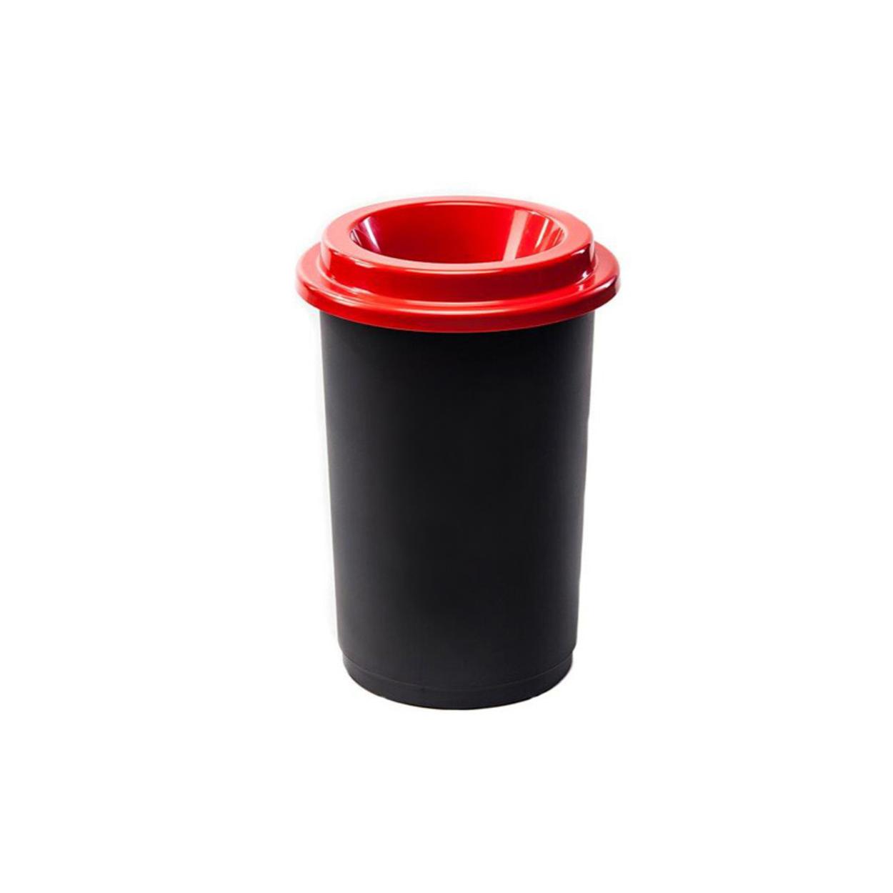 Guľatý plastový kôš na triedený odpad, 50 l, červená
