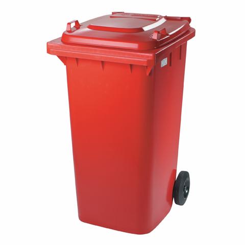 Plastová nádoba s kolieskami červená
