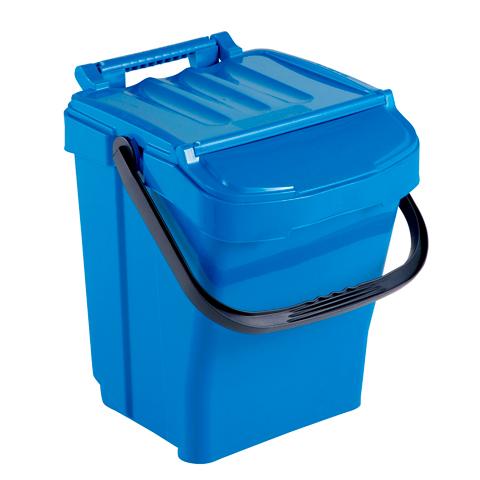Odpadkový kôš s držadlom a vekom, modrý