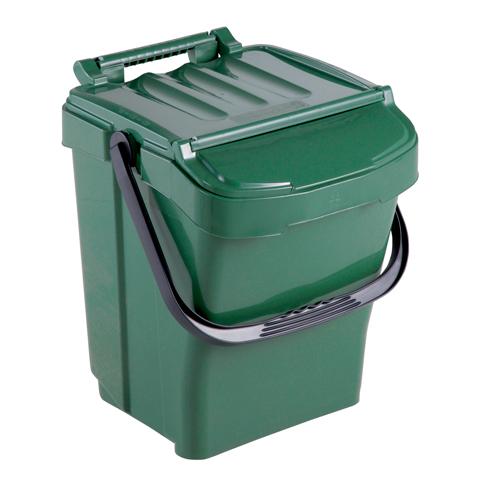 Odpadkový kôš s držadlom a vekom, zelený